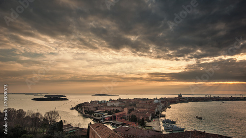 Leinwanddruck Bild Giudecca aerial view at sunset. Venice, Italy.