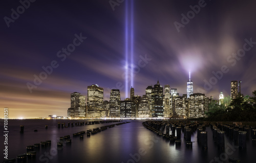 Manhattan skyline, tribute lights 9-11