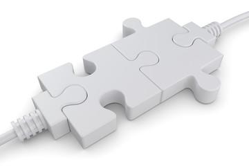 Verbind weisse Puzzleteile