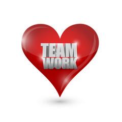 teamwork love heart illustration design