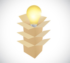 light bulb idea inside boxes illustration design
