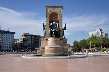 The Monument of the Republic on Taksim Square, Istanbul, Turkey.