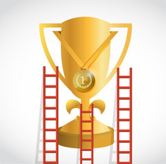 ladders to a gold trophy illustration design