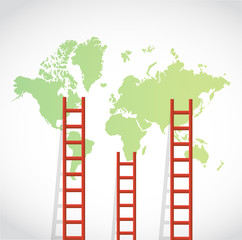 ladders to a world map illustration design