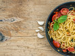 Pasta with tomatoes and basil - 70390613