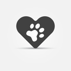 Black pet paw in heart icon