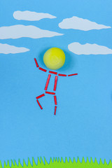 Figurative person standing out jumping with happiness.