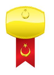 Ay Yıldızlı Altın Madalyon İllüstrasyonu