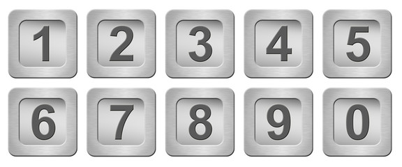 silver buttons with numbers isolated on white background