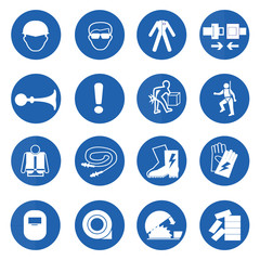 Mandatory signs, Construction health and safety,Vector illustrat