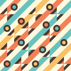 Seamless pattern with multicolored stripes and circles.