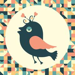Cheerful bird with vintage background.