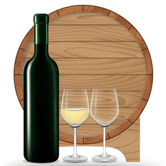 White wine bottle with glass and barrel