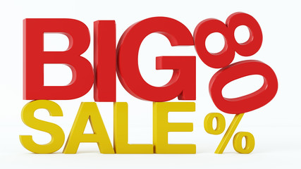 3D rendering of a 80 Percent and Big Sale Text