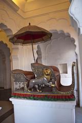 Old howdah (elephant carriage) in Meherangarh Fort  in Jodhpur