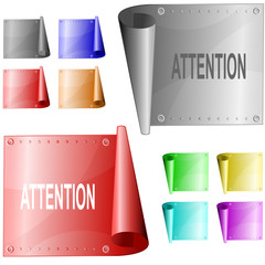 Attention. Vector metal surface.