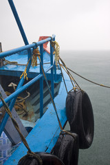 Detail of a ferry during monsoon rain. Andaman Islands, India