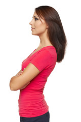 Side view of woman looking forward