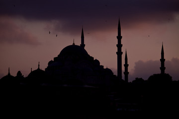 Silhouette of mosques in Istanbul skyline, Turkey