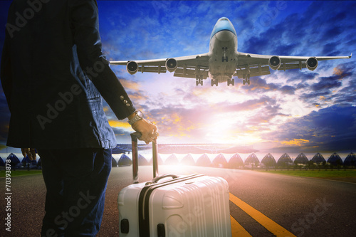 canvas print picture business man and luggage standing in airport and passenger jet p