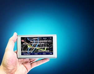Gps in a man hand.