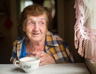 Old woman emotionally talking sitting near the window.