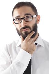Bearded Businessman Thinking