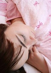 Beautiful young woman sleeping.