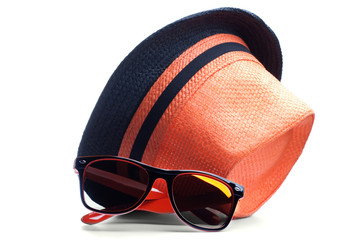 hat and sunglasses isolated