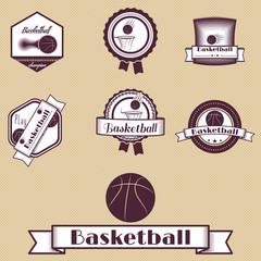 badge set basketball retro