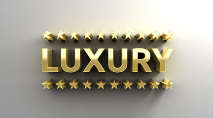 Luxury with stars - gold 3D quality render on the wall backgroun