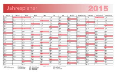 Jahresplaner 2015 in rot