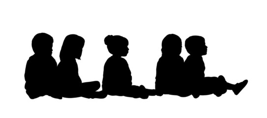medium group of children seated silhouette 6