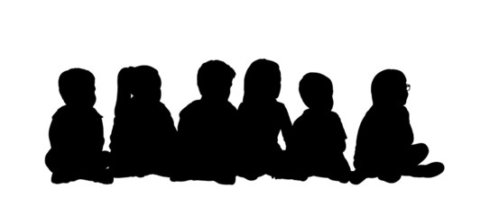 medium group of children seated silhouette 5