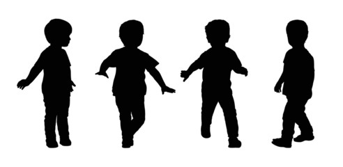 little boy running silhouettes set 4