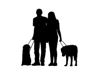 blind couple with dogs silhouette