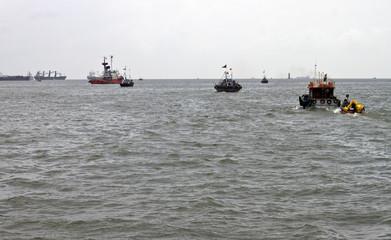 Ships near Mumbai port, India