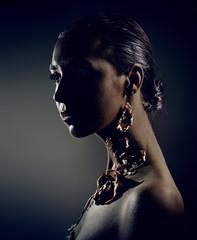 Dark studio beauty portrait