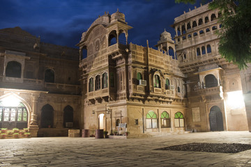 Ornate facade of Haveli in the old town of Jaisalmer, India