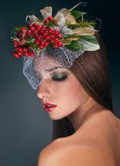 Studio beauty portrait with rowan