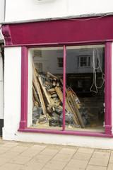 tumbledown violet shop window, Henley on Thames