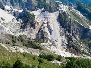 Dramatic Carrara marble quarry, mountain view. Italy.