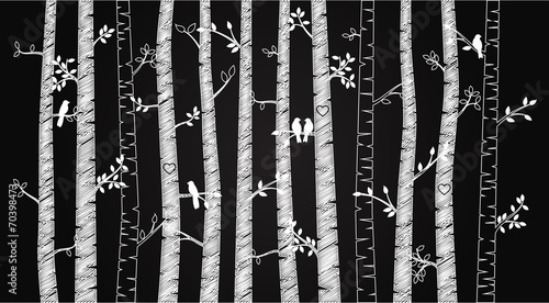 Vector Chalkboard Birch or Aspen Trees with Autumn Leaves and Lo