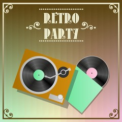 Retro party poster with vinyl recorder