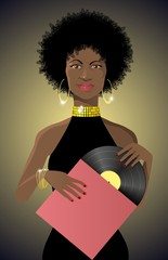 Beautiful african lady with vinyl