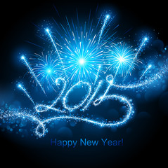 New Year's fireworks 2015. Vector