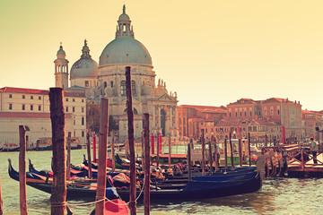 Venice Italy Canal Grande Gondola and Salute