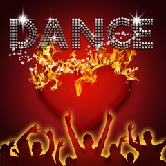 Dance poster heart on fire