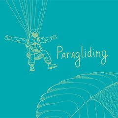 vector paragliding sportsmen in mountains
