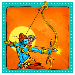 Lord Rama with bow arrow killimg Ravana